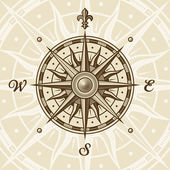 Vintage compass rose in woodcut style Vector illustration with clipping mask