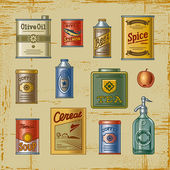 A set of retro grocery items Decorative vector illustration