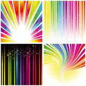 Abstract set of rainbow color stripe and stars background
