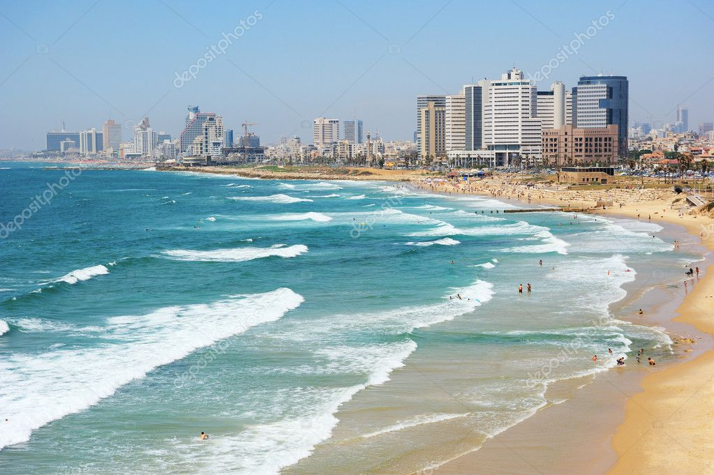 Sea coast and the view of Tel Aviv at the evening