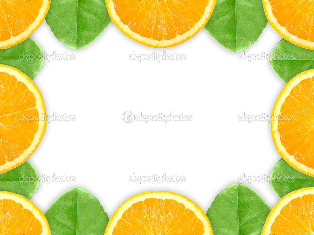 cadre avec fruits orange et vert feuille photographie boroda 4282597. Black Bedroom Furniture Sets. Home Design Ideas