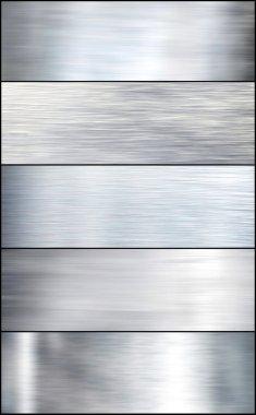 Brushed silver metal. Set