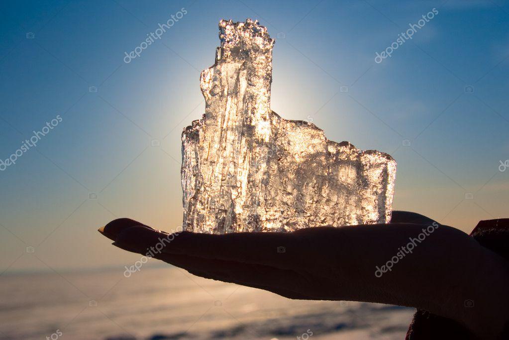 Ice on a hand
