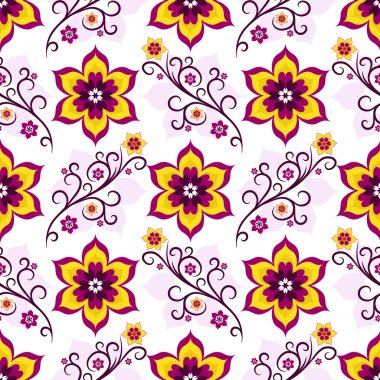Seamless white-pink floral pattern