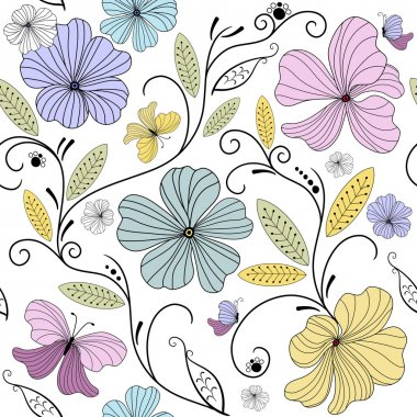 Pastel seamless floral pattern with flowers and butterflies (vector) clip art vector