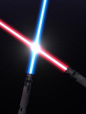 Crossed light sabers stock vector