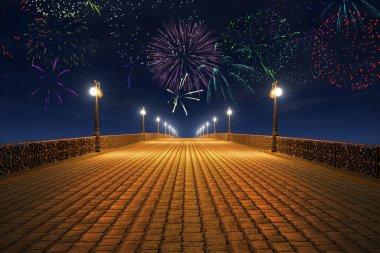 Night fireworks on the empty bridge