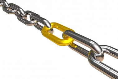 Steel chain with golden link