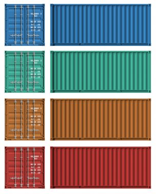 Set of cargo container templates stock vector