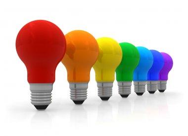 Row of rainbow lightbulbs