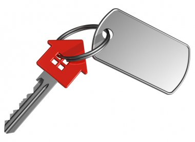 Red house-shape key with label