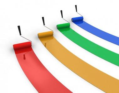 Four trails of color paint