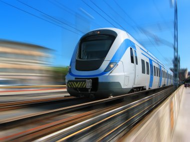 High-speed train with motion blur stock vector