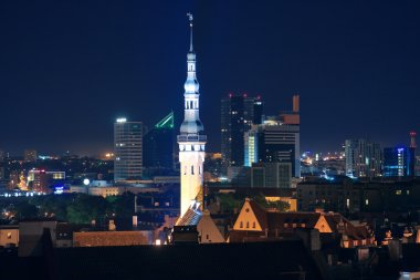 Night cityscape of Tallinn, Estonia