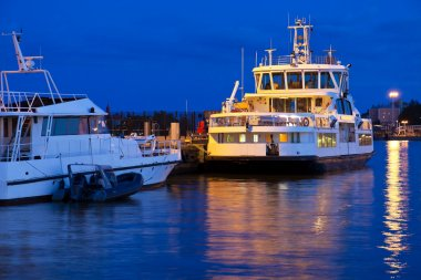 Docked tourist ships