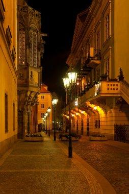 Empty night Prague street