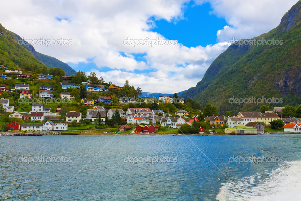 Mountain village in fjords, Norway