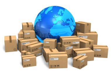 Cardboard boxes and Earth globe