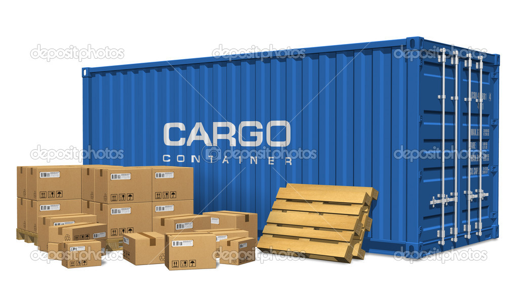 Cardboard boxes and cargo container