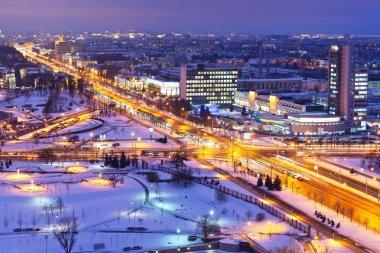Night winter panorama of Minsk, Belarus
