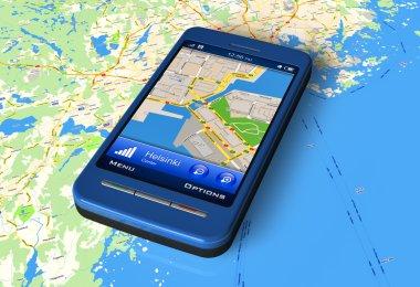 Smartphone with GPS navigator on map