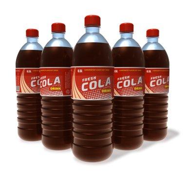 Set of cola drinks in plastic bottles