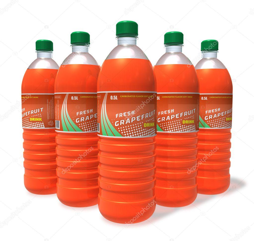 Conjunto de pomelo bebidas en botellas de plástico — Fotos