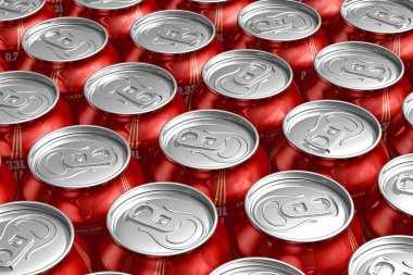 Macro of metal cans with refreshing drinks
