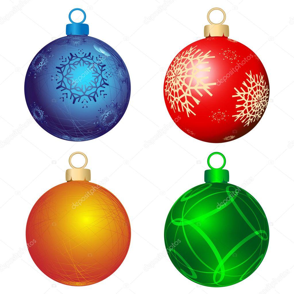 Cuatro bolas de color vector de stock alina12 4292010 for Dibujos de navidad bolas