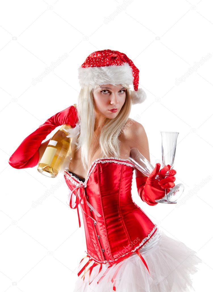 Блондинка В Красных Перчатках И Колпаке Фото