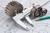 Photo Mechanical drawing and pinion