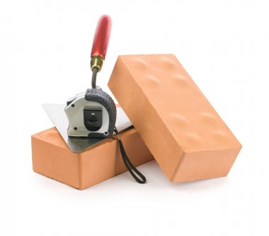 Bricks trowel and tapeline