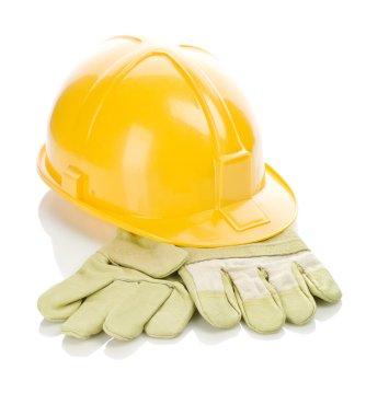 Helmet on gloves stock vector