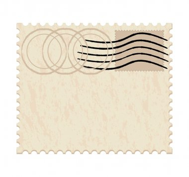 Vector illustration of a blank grunge post stamp on white background