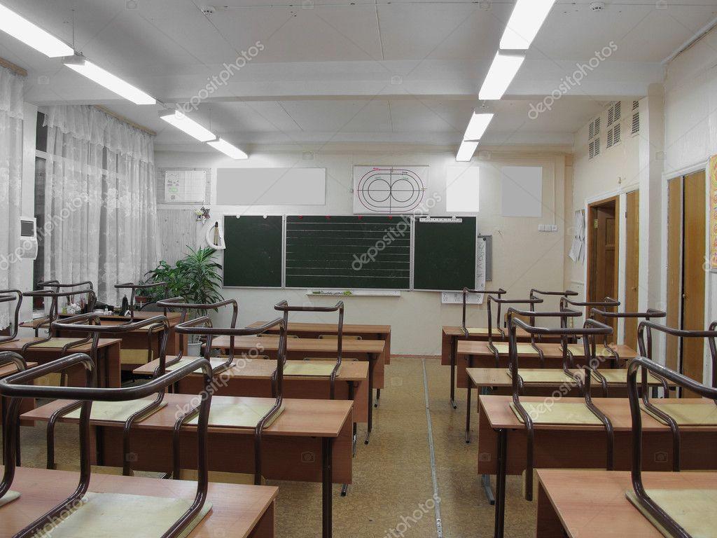 The Image Of Empty Classroom Stock Photo