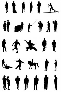 Vector silhouettes of different under the white background