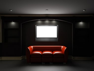 Red leather divan and bookcase with LCD tv in dark room