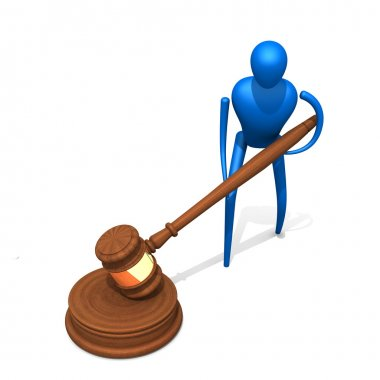 3d person with judicial gavel