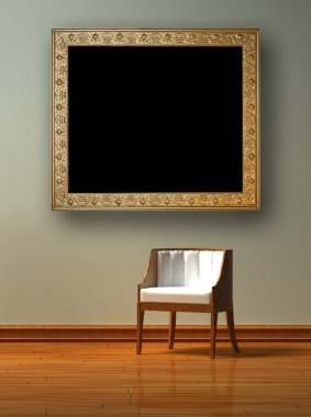 Alone chair with antique picture frame