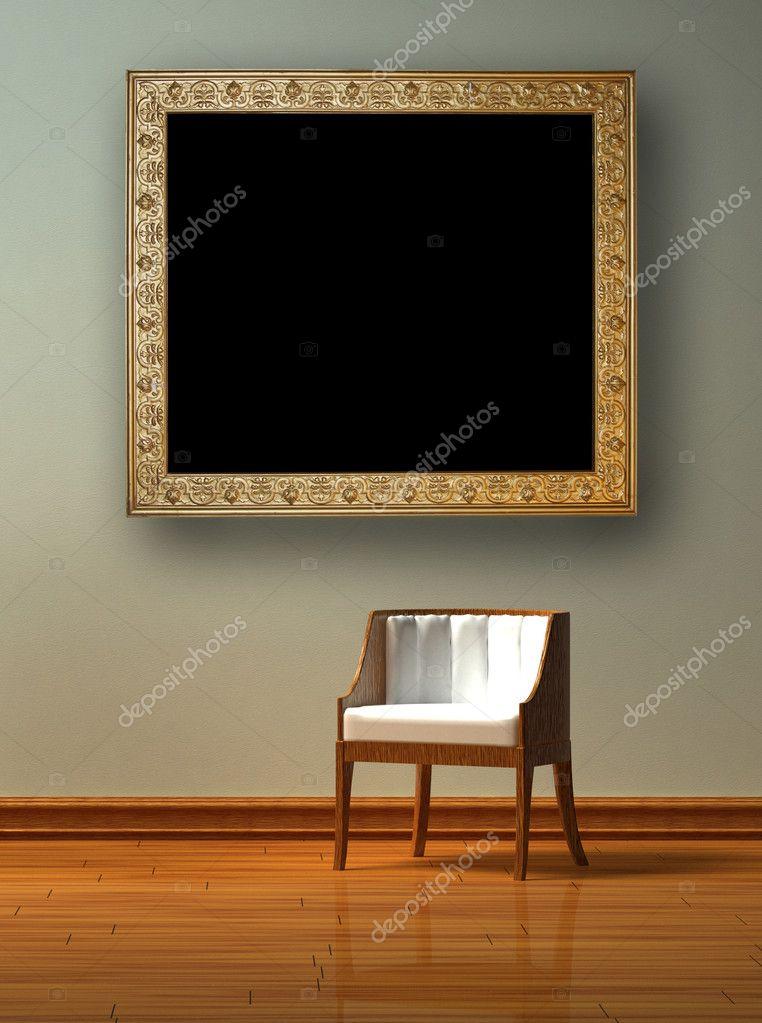 allein Stuhl mit antiken Bilderrahmen — Stockfoto © sommersby #5116216