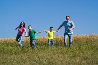 Happy hopping family