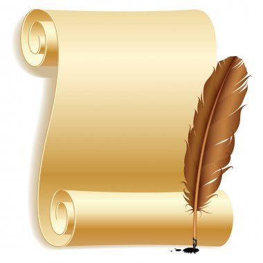 Old paper scroll and feather. stock vector