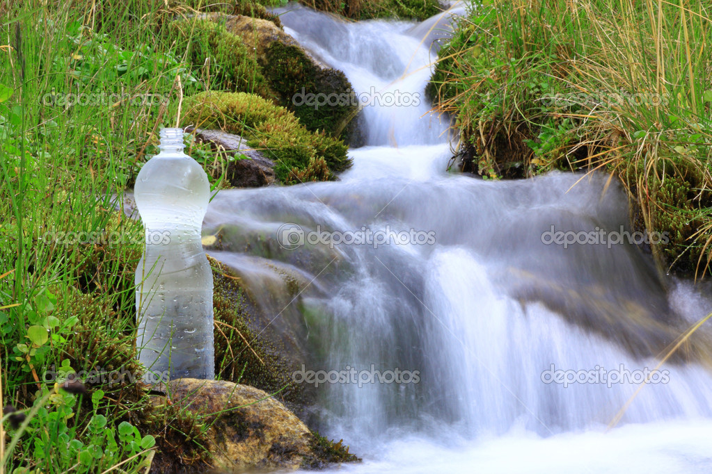 Plastic bottle with clean water