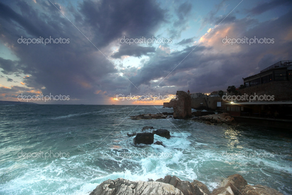 Classic Israel - Sundown in the mediterranean at city of Acre in