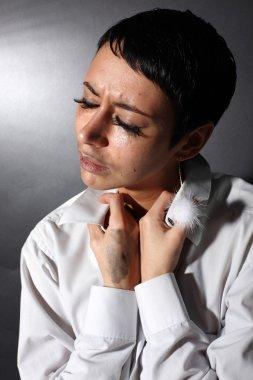 Sad depression woman with tears