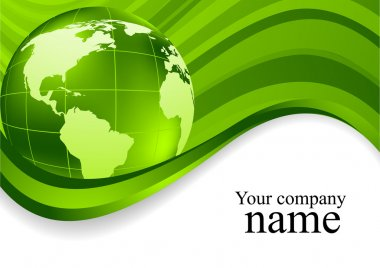 Green wavy background with globe. Vector illustration