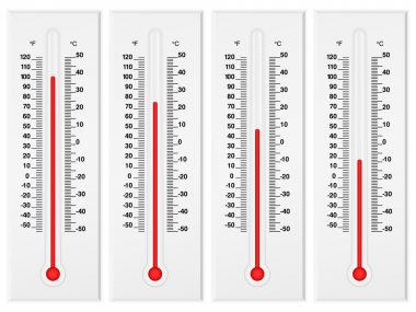 Thermometer set isolated on a white background. Vector illustration. clip art vector