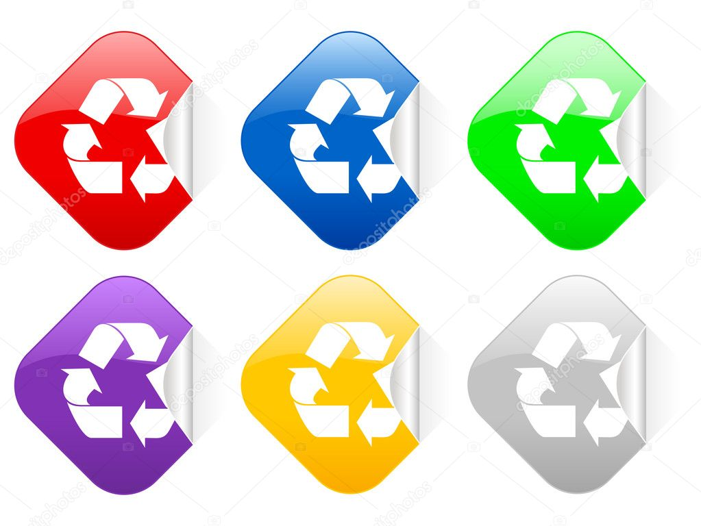 Recycle Symbol Square Stickers Stock Vector Julydfg 5280900