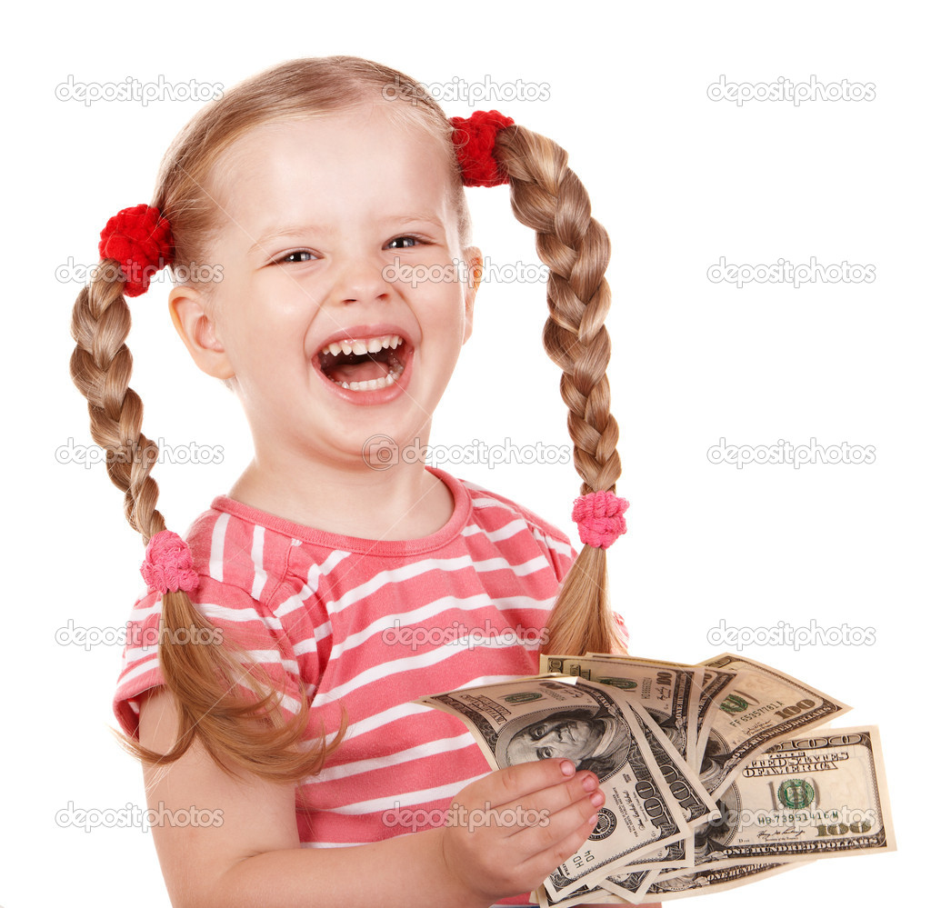 dollar stock photos happy child with money dollar stock photo 169 poznyakov 7454