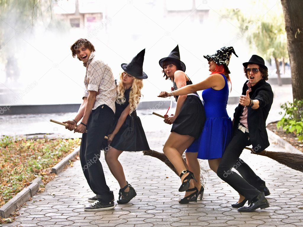 Group of on broom and halloween witch costume. — Stock Photo ...